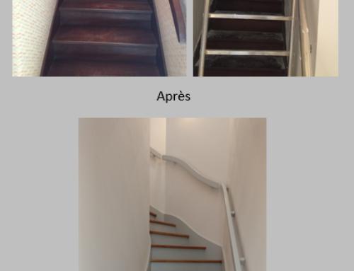 Escalier Avant / Pendant les travaux / Après